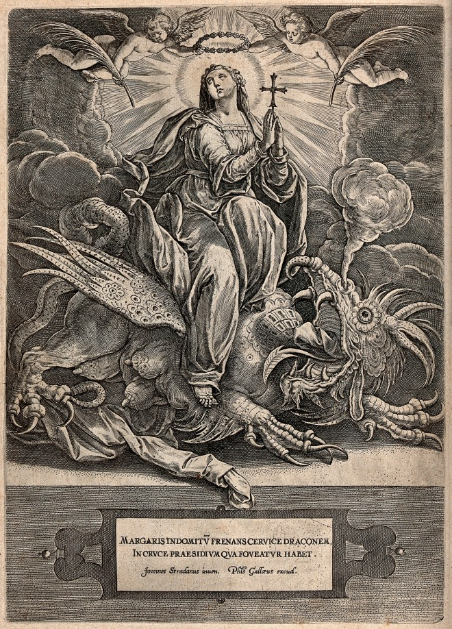 V0032585 Saint Margaret. Engraving by P. Galle after J. Stradanus.